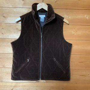 Talbots quilted zip up vest chocolate color size S